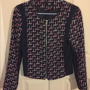 H&M Red Navy White Tweed Blazer Jacket EUC size 8